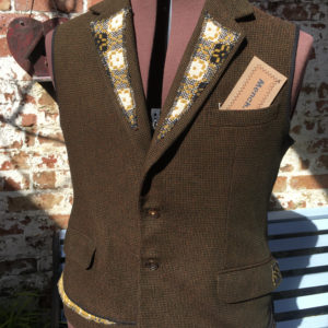 Mench Refashioned Wool Waistcoat with Welsh Blanket detail - Country Boy/Crwt y Wlad