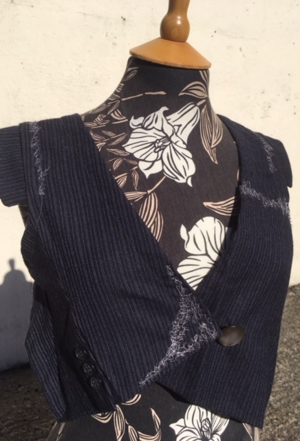 Wench Refashioned Waistcoat made from suit sleeves - Out of Office